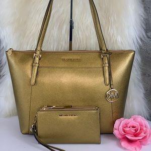 🌺Michael Kors Ciara LG ZIP Tote Bag & Wallet